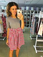 Платье трикотажное , юбка в красную полоску