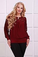 Блуза Лина больших размеров д\р р.54-62 бордовый
