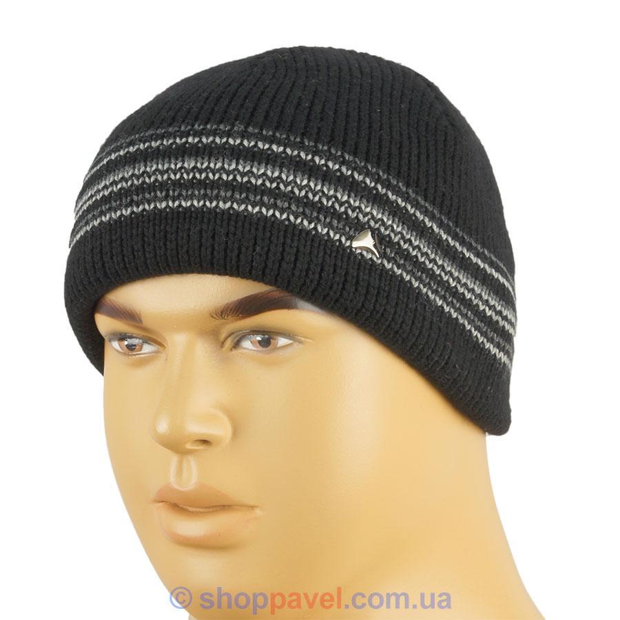 Мужская чёрная шапка Maxval ShM 102047 с полосками