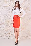 Красная модная юбка женская с вставками Матрос Размер 42-48