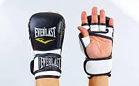 Перчатки гибридные для единоборств MMA PU ELAST BO-4612-BKW (р-р S-XL, черный-белый)