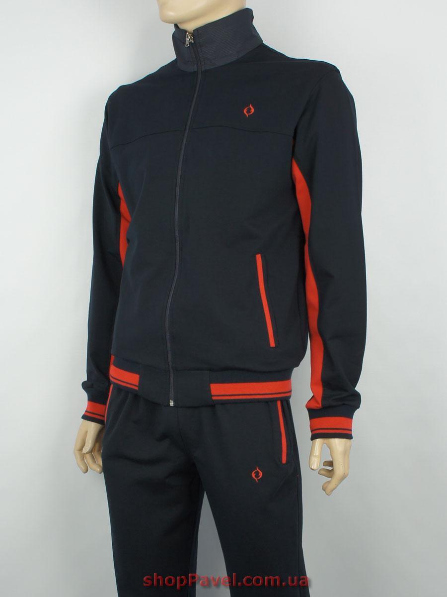 1c55e8b8 Хлопковый мужской спортивный костюм Fabiani 13ВЕ3Е3748 Н темно-синий с  красными вставками - Магазин мужской