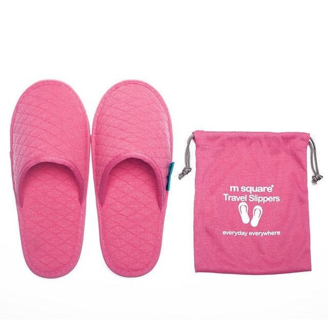 Портативные тапочки для путешествующих розовые