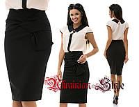 Классическая  юбка-карандаш за колено с декором.