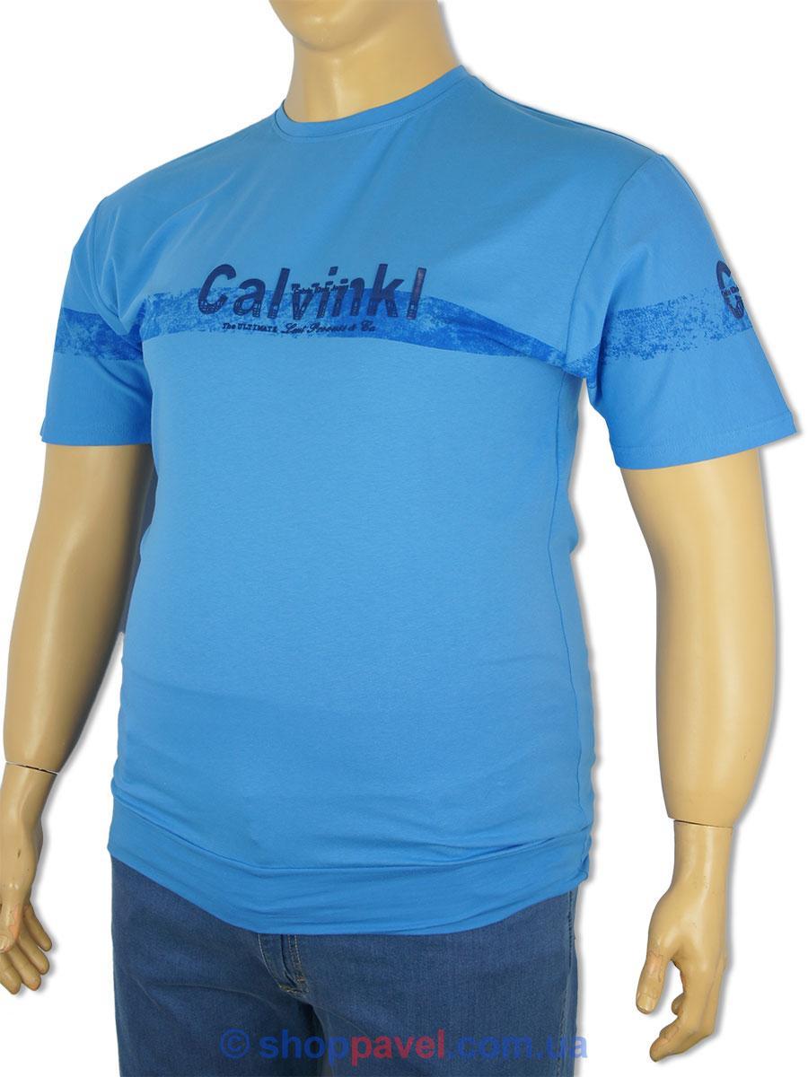 Синяя мужская футболка  PC-1363 большого размера