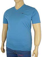 Футболка мужская Найк 4364 синяя больших размеров