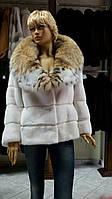 Норковая шуба белого цвета натуральный мех длинный рукав воротник Рысь размер 46-48