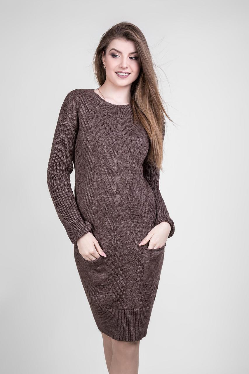 Стильное вязаное платье с длинным рукавом