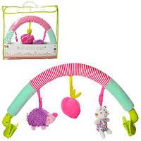 Підвіска на коляску GN005 дуга на коляску, підвіски 3 шт., плюш, 2 види, сумка.