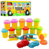 Пластилін MK 0686 машинки, 12 кольорів, кришки-формочки, форми-машинки 3D, кор., 40-17,5-12,5 см.