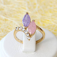 002-2631 - Позолоченное кольцо с цветными с блёстками и прозрачными фианитами, 18 р