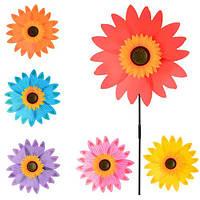 """Вітрячок M 0800 розмір великий, """"36, палочка, соняшник, 6 кольорів, кул., 36-36-2 см."""