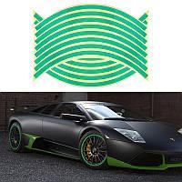 Светоотражающие полосы на диск колеса зеленые