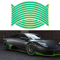 Светоотражающие полосы на диск колеса зеленые, фото 1