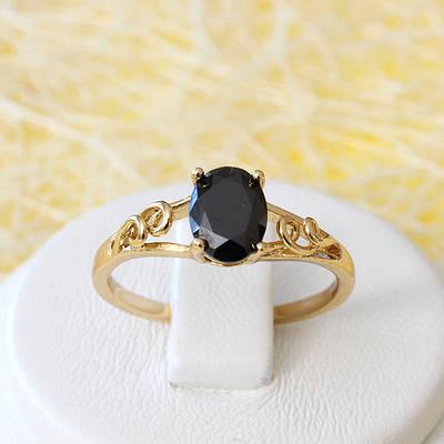 002-2634 - Позолоченное кольцо с чёрным фианитом, 16, 17, 17.5, 18.5 р
