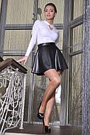 Кожанная Юбка Чёрная Милолика Размер 42-46 Ткань: 09, Экокожа