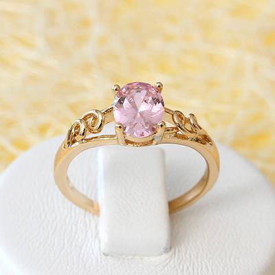 002-2636 - Позолоченное кольцо с розовым фианитом, 16, 17, 17.5, 18.5 р
