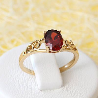R1-2637 - Позолоченное кольцо с бордовым фианитом,  16, 17, 17.5 р