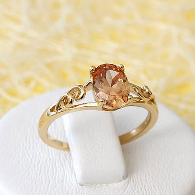 R1-2638 - Позолоченное кольцо с шампаневым фианитом, 16, 17, 18, 18.5 р