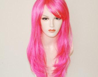Парик длинный прямой каскад розовый  62 см