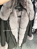 Куртка парка с натуральным мехом хаки