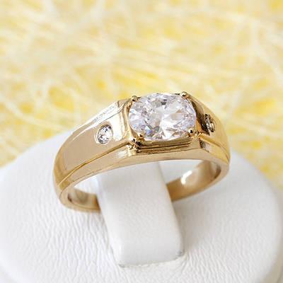 002-2643 - Позолоченное кольцо с прозрачными фианитами, 16, 16.5, 17.5, 18 р