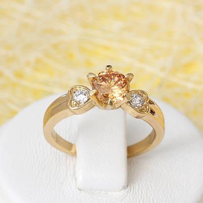 002-2647 - Позолоченное кольцо с шампаневым и прозрачными фианитами, 17 р