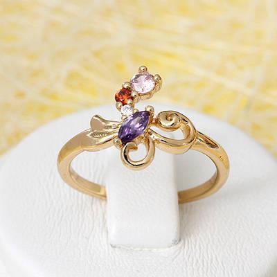 002-2649 - Позолоченное кольцо с цветными фианитами, 16, 17, 18, 18.5 р
