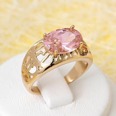 R1-2650 - Позолоченный перстень с розовым фианитом, 16, 17.5 р