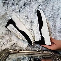 Кроссовки женские замшевые черно-белые с паетками код 276