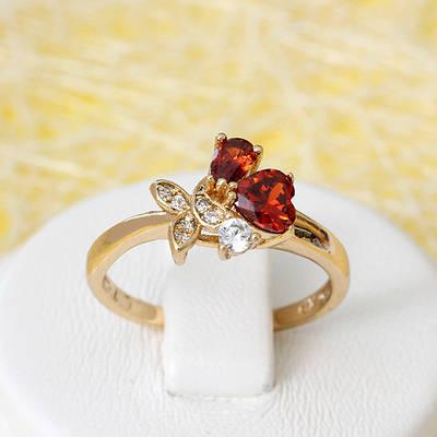 002-2651 - Позолоченное кольцо с красными и прозрачными фианитами, 17, 17.5, 18.5 р