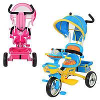 Велосипед B29-1B-1 (2шт) 3-х колесный, 2 цв: розов/голуб,муз.свет, мягкое сидение,усилен. ручка, сум