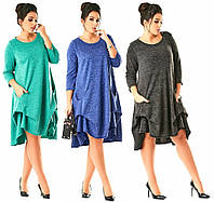 Платье повседневное с карманами. 3 цвета. Р-ры: 56-58, 60-62.