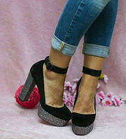 Женские замшевые туфли на толстом каблуке низ платформа серебро