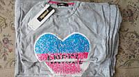 """Туника-блуза для девочки с длинным рукавом серая с рисунком """"сердце"""" из пайеток с удлиненной спинкой"""
