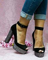 Женские замшевые босоножки на толстом каблуке низ платформа серебро