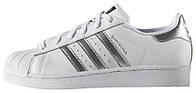Женские кроссовки Adidas Superstar White/Silver Metallic (Адидас Суперстар) белые