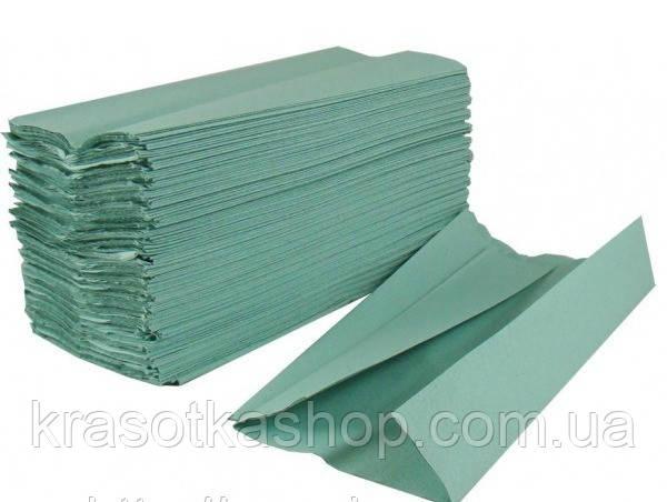 Полотенце бумажное в пачке V-складка, 200 листов зеленые/синие