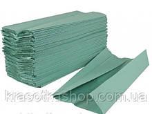 Рушник паперовий у пачці V-складка, 200 аркушів зелені/сині