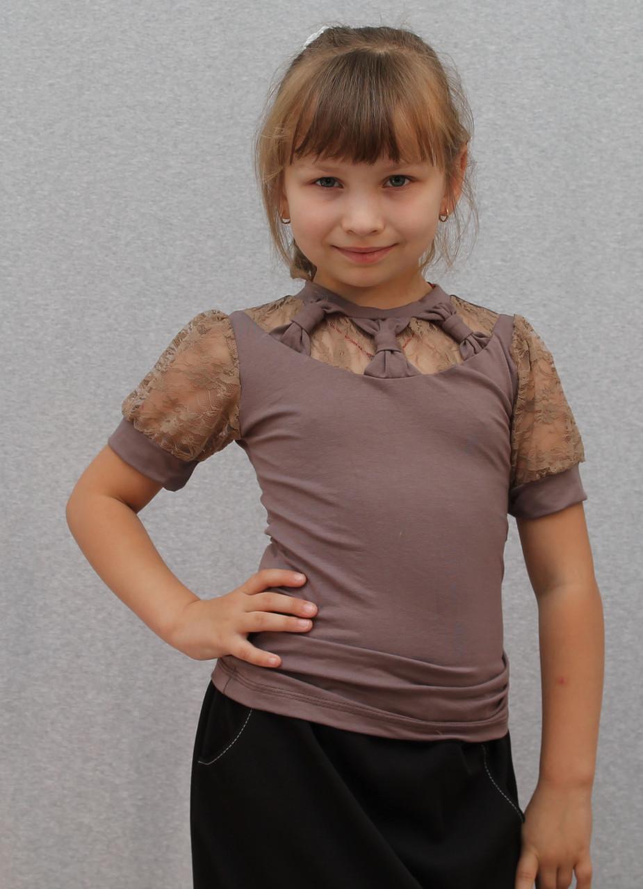 Блузка для девочки с гипюром кофе