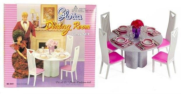 """Меблі іграшкова для ляльок Глорія Gloria """"Їдальня"""" 94011, в комплекті зі столом, стільцями і аксесуарами"""