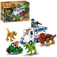 Конструктор JDLT 5248 (18шт) динозавры, машина, мотоцикл, фигурки, 35дет, в кор-ке, 37-28,5-10см