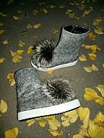 Женские шикарные замшевые ботинки из шерсти с мехом чернобурки