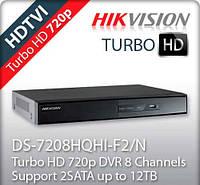 8-канальный Turbo HD видеорегистратор DS-7208HQHI-F2/N 4 аудиоканала