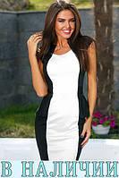 Элегантное двухцветное платье футляр с баской на талии Basto