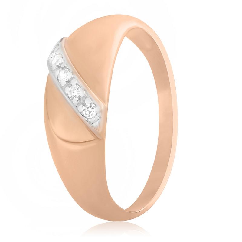 """Серебряное кольцо с камнями и позолотой """"072"""""""