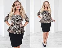 Платье трикотажное с леопардовым принтом 48+ арт 55827-93