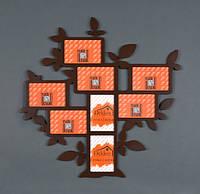 """Рамка """"Дерево""""  на 8 фото коричневая"""
