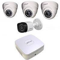 1Мп Комплект видеонаблюдения HDCVI Dahua 3 внутренних и 1 наружная камеры