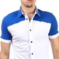 Молодёжная рубашка с коротким рукавом двухцветная